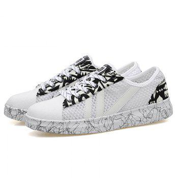 Graffitti Breathable Mesh Sneakers - WHITE 43