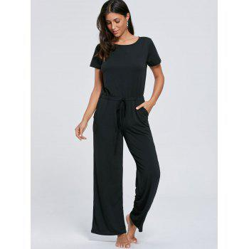 Short Sleeve Pocket Drawstring Jumpsuit - BLACK L