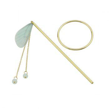 Fringed Chain Circle Beads Hair Stick - GREEN