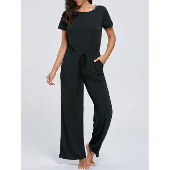 Short Sleeve Pocket Drawstring Jumpsuit