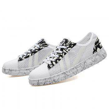 Graffitti Breathable Mesh Sneakers - WHITE 41