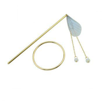 Fringed Chain Circle Beads Hair Stick -  BLUE