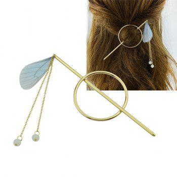 Fringed Chain Circle Beads Hair Stick - BLUE BLUE