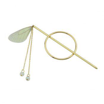Fringed Chain Circle Beads Hair Stick - YELLOW YELLOW