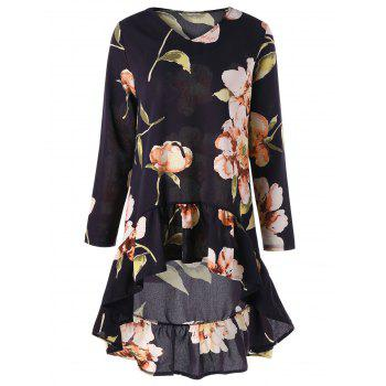 Floral Print High Low Flounce Tunic Blouse