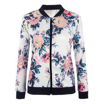 Floral Zipper Fly Jacket