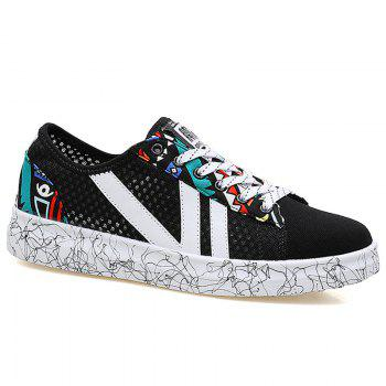 Graffitti Breathable Mesh Sneakers - BLUE AND BLACK 43