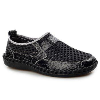 Hollow Out Faux Leather Panels Slip On Sneakers - BLACK 40