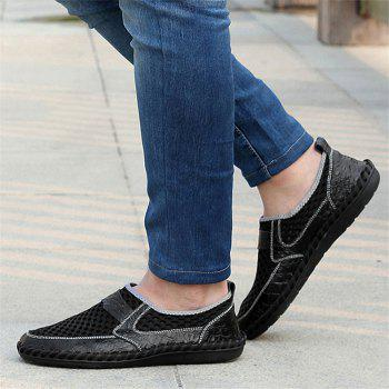 Hollow Out Faux Leather Panels Slip On Sneakers - BLACK 42
