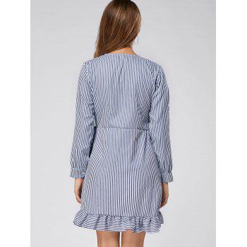 Long Sleeve Ruffle Striped Mini Wrap Dress - STRIPE STRIPE