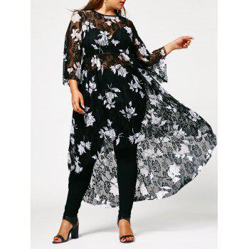 Floral High Low Plus Size Lace Dress