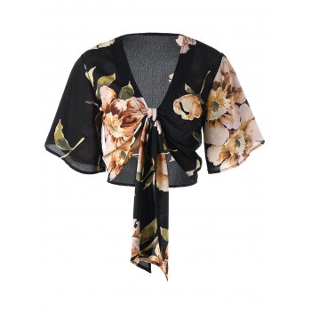 Floral Print Tie Front Crop Top - BLACK L