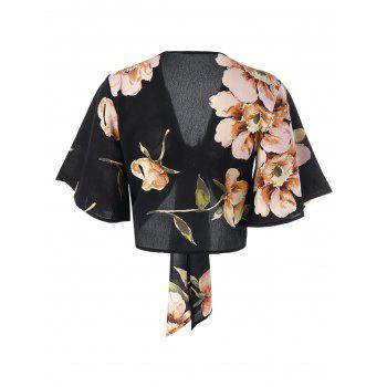 Floral Print Tie Front Crop Top - BLACK XL