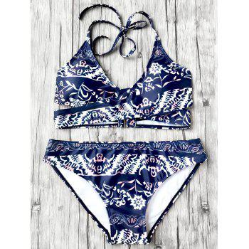Floral Wrap Bikini Set with Halter Neck