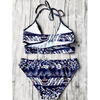 Floral Wrap Bikini Set with Halter Neck - PURPLISH BLUE M