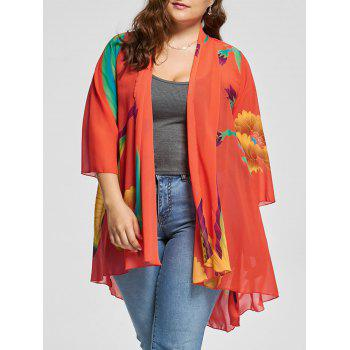 Butterfly Print Plus Size Kimono Cover Up