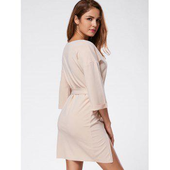 Robe mi-longue à rayures - LIGHT APRICOT XL