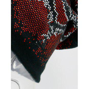 Hot Fix Rhinestone Knitting Beanie -  RED