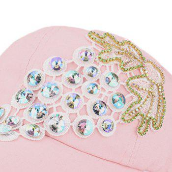 Grape Patchwork Rhinestone Baseball Cap -  LIGHT PINK