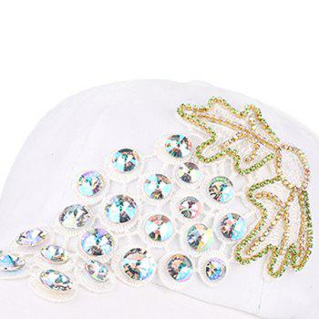 Grape Patchwork Rhinestone Baseball Cap - WHITE