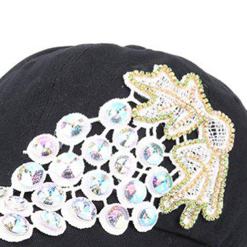 Grape Patchwork Rhinestone Baseball Cap -  BLACK