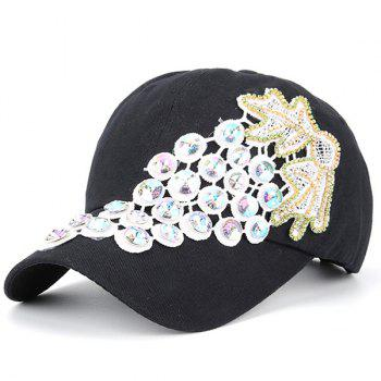 Grape Patchwork Rhinestone Baseball Cap - BLACK BLACK