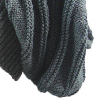 Stacking Stripe Ribbing Knitted Beanie - DEEP GRAY