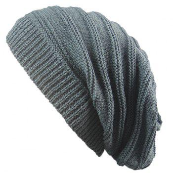 Stacking Stripe Ribbing Knitted Beanie - DEEP GRAY DEEP GRAY