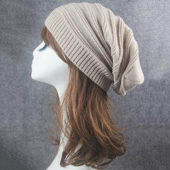 Stacking Stripe Ribbing Knitted Beanie - BEIGE