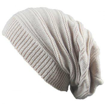 Stacking Stripe Ribbing Knitted Beanie - BEIGE BEIGE