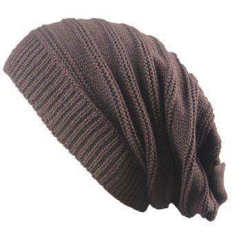 Stacking Stripe Ribbing Knitted Beanie - COFFEE COFFEE