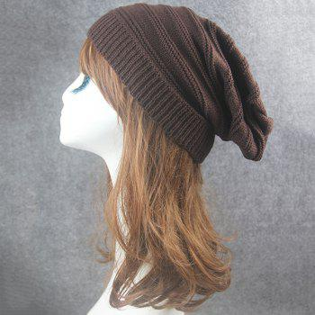 Stacking Stripe Ribbing Knitted Beanie -  COFFEE