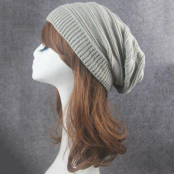 Stacking Stripe Ribbing Knitted Beanie -  LIGHT GRAY