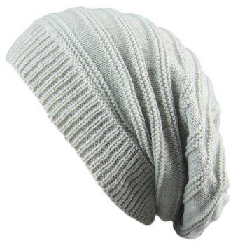 Stacking Stripe Ribbing Knitted Beanie - LIGHT GRAY LIGHT GRAY