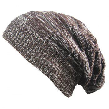 Warm Striped Rib Knitted Beanie - COFFEE COFFEE