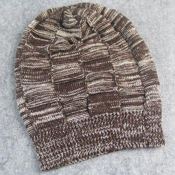 Warm Striped Rib Knitted Beanie -  COFFEE
