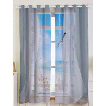 2Pcs Faux Window Seagull Printed Lightproof Window Curtains - GREY WHITE GREY WHITE