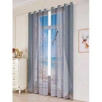 2Pcs Faux Window Seagull Printed Lightproof Window Curtains - GREY WHITE W53 INCH * L96.5 INCH