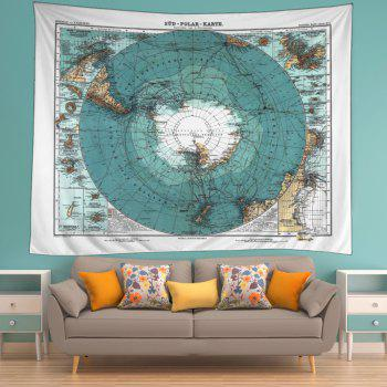 Retro Antarctic Map Print Tapestry Wall Hanging Art - AZURE BLUE W79 INCH * L59 INCH