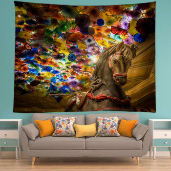 Horse Art Glass Print Tapestry Wall Hanging - multicolorcolore W79 INCH * L59 INCH
