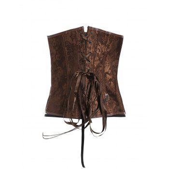 Brocade Plus Size Faux Leather Corset - 3XL 3XL