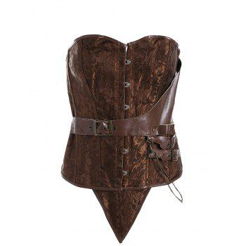 Brocade Plus Size Faux Leather Corset - CAMEL 3XL