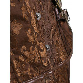 Brocade Plus Size Faux Leather Corset - CAMEL CAMEL
