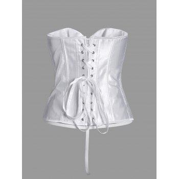 Steel Boned Lace Up Plus Size Corset - WHITE WHITE