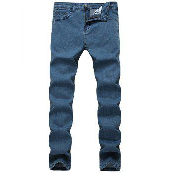 Slim Fit Zipper Fly Plain Jeans