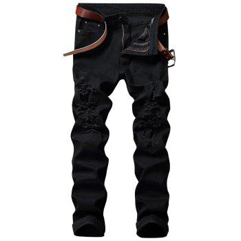 Zip Fly Straight Extreme Ripped Jeans