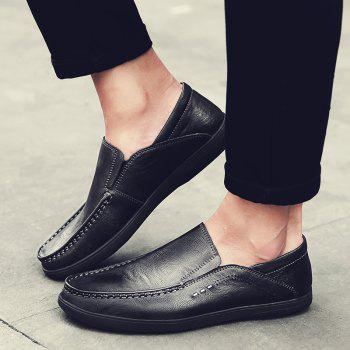 Slip On Faux Leather Casual Shoes - BLACK 44