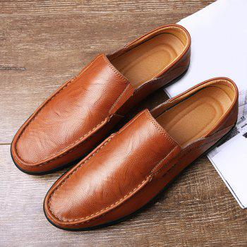 Slip On Faux Leather Casual Shoes - BROWN 43