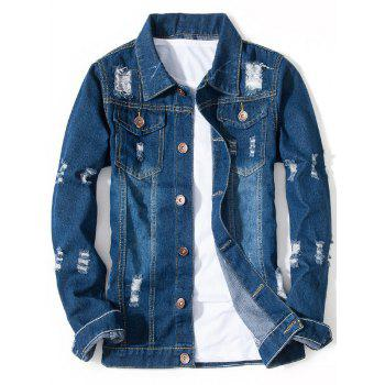 Chest Pocket Button Up Ripped Jean Jacket