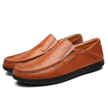 Slip On Faux Leather Casual Shoes - BROWN 44